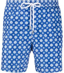 barba coral print swim shorts - blue