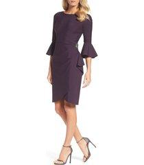 women's alex evenings bell sleeve sheath dress, size 16 - purple