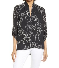 women's ming wang floral tulip hem top, size x-small - black