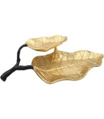 classic touch 2 tier gold leaf shaped dish with engraved vein design