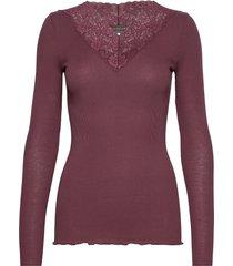 organic t-shirt regular ls w/lace t-shirts & tops long-sleeved röd rosemunde