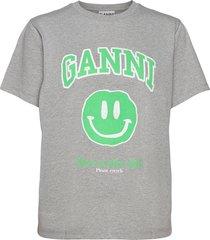 basic cotton jersey t-shirts & tops short-sleeved grå ganni