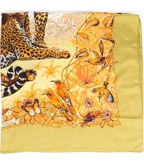 hermes jungle love multicolor shawl scarf green/multicolor sz: