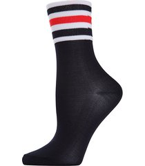 sheer striped cuff crew socks