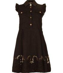 jurk met borduursels yip  zwart