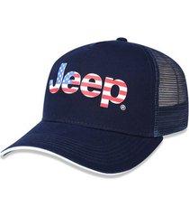 boné jeep trucker bandeira us aba curva