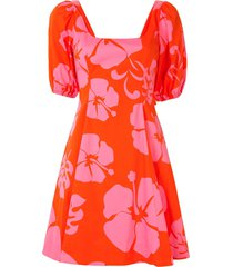 staud hibiscus floral print mini dress - red