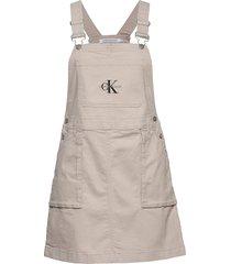 utility dungaree dre kort klänning beige calvin klein jeans