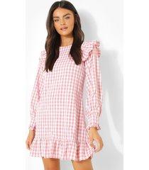gesmokte gingham jurk met geplooide schouders, pink