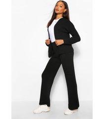 gebreide korte cardigan en wide leg broek set, zwart