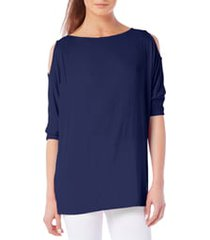 petite women's michael stars cold shoulder tee, size one size - blue
