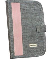 porta cartão de vacina lyssa baby capa dura linho cinza e rosé