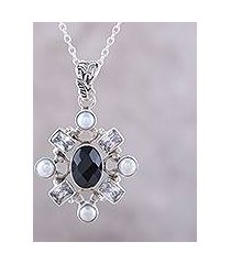 onyx and cultured pearl pendant necklace, 'alluring style' (india)
