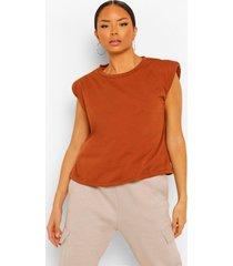 jersey shirt met schouderpads, tan