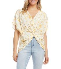 women's karen kane tie dye twist tie t-shirt, size small - yellow