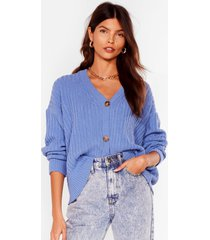 womens over knit button-down ribbed cardigan - blue