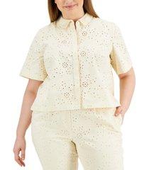 alfani plus size eyelet short-sleeve shirt, created for macy's