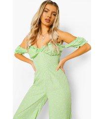 bloemenprint cullotte jumpsuit met uitgesneden hals, light green