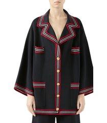 women's gucci stripe trim knit caban jacket