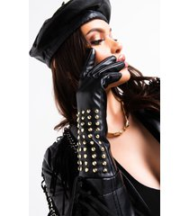 akira fo real pleather studded gloves