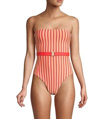 reversible belted 1-piece swimsuit