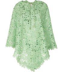 bambah lace crochet poncho - green