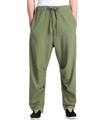 hombre lino transpirable bolsillo cintura elástica casual pantalones