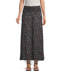 rebecca taylor women's floral silk palazzo pants - black - size m
