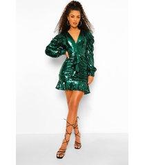 geplooide mini jurk met pailletten, laag decolleté en lange geplooide mouwen, green