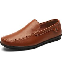 uomo soft scarpe casual con cuciture a mano in pelle di mucca