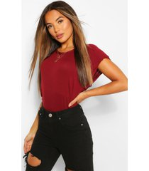 petite shoulder pad t-shirt, berry