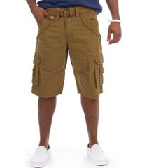 x-ray men's belted double pocket bermuda cargo shorts