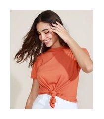 camiseta de algodão básica com nó manga curta decote redondo laranja