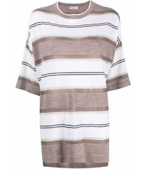 brunello cucinelli stripe knit slouchy t-shirt - white
