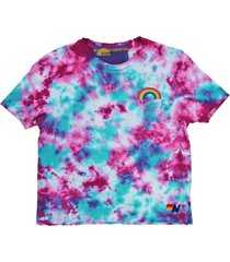 women's aviator nation rainbow tie dye boyfriend women's t-shirt, size x-small - blue