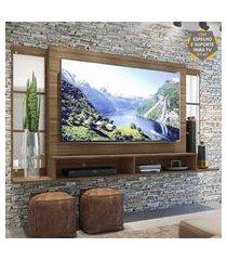"""painel tv 60"""" c/ suporte, espelho e nichos tókio multimóveis madeirado"""