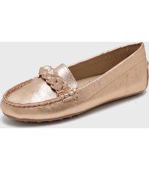 zapato plano oro rosa via uno