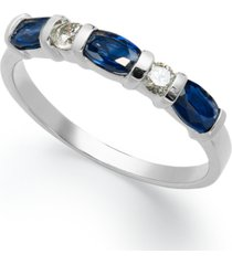 14k white gold ring, sapphire (1 ct. t.w.) and diamond (1/8 ct. t.w.) ring