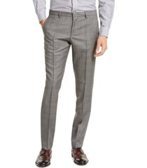 hugo men's slim-fit gray windowpane check suit pants