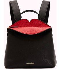 lulu guinness women's peekaboo lip valentina backpack - black/red