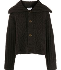 bottega veneta chunky knit cardi-coat jacket - brown
