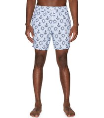 sperry men's nautical-print drawstring swim shorts - white - size l