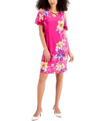 jm collection petite printed tiered-sleeve dress, created for macy's