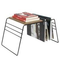 porta revistas de cháo, revisteiro com mesa apoio