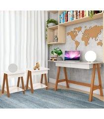 escrivaninha cavalete e conjunto mesa amêndoa off white casah