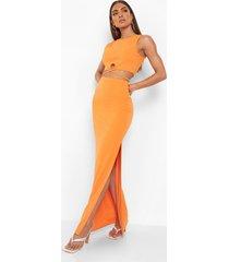 crop top en maxi rok met ceintuur, orange