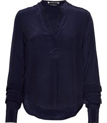 feminine top with special sleeve detail blouse lange mouwen blauw scotch & soda
