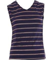 blusa dica de lingerie sem manga azul/dourado rs42 - azul marinho - feminino - dafiti