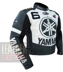 yamaha 6 grey leather motorcycle motorbike pure  cowhide safety  jacket