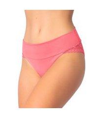 1 calcinha cós duplo renda lingerie feminina sensual rosa